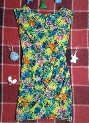 Шелковое легкое платье-футляр atmosphere, тропический принт,  xs/s