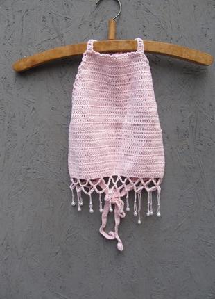 Розовый вязаный топ с бахромой 125