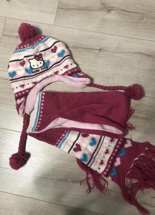 Комплект на флисе шапка+шарф