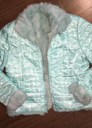 Двусторонняя натуральная куртка-шубка.мех кролика.полушубок.шуба авто-леди