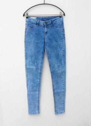 Синие стрейчевые джинсы скинни варенки