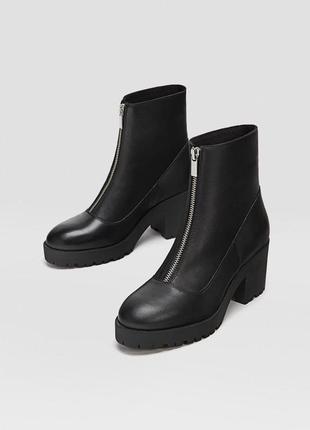Натуральная кожа. новые ботинки stradivarius (36,37,38,39,40) на молнии