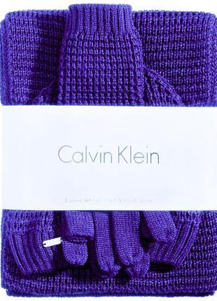 Новый шикарный теплый комплект calvin klein шапка шарф перчатки