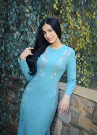 """Нарядное теплое платье с вышивкой """"коралловые рифы""""  платье с вышивкой"""