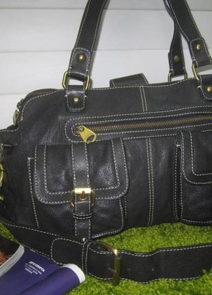 Актуальная, большая кожаная сумка английского бренда jasper conran нат. кожа