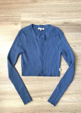 Кофта в рубчик синяя гольф на замке топ топик свитер укорочённый короткий