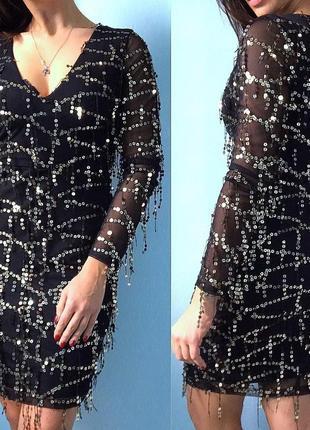 Нарядное вечернее женское платье в паетку обтягивающее размер м новый год 2019