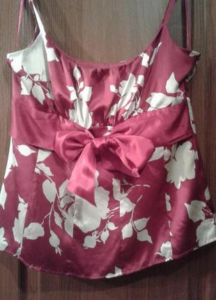 Блузка на бретелях 100% шелк