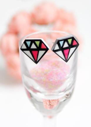 Серьги-гвоздики разноцветный алмаз акрил