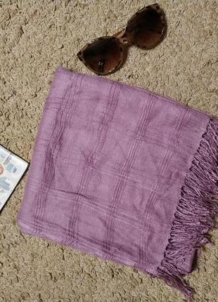 Pieces accessories стильний шарф/ платок врельефную клетку с бахромой2