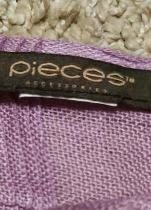Pieces accessories стильний шарф/ платок врельефную клетку с бахромой4