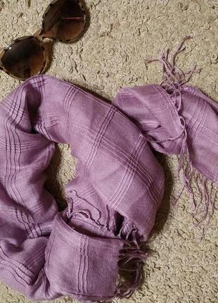 Pieces accessories стильний шарф/ платок врельефную клетку с бахромой1