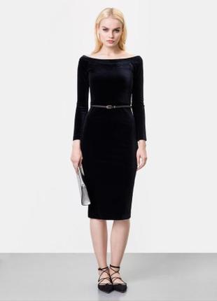 Черное бархатное платье 80 % котон
