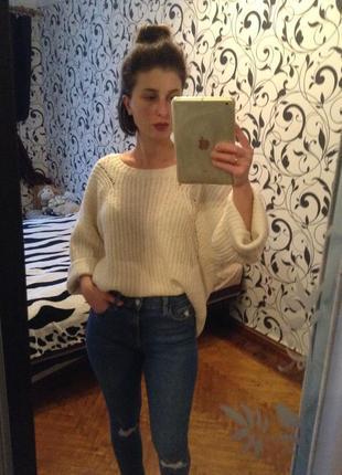 Свитер шерстяной,свитер объемный,крупная вязка,свитер теплы