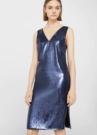 Шикарное вечернее синие миди платье в паетки mango xs s m