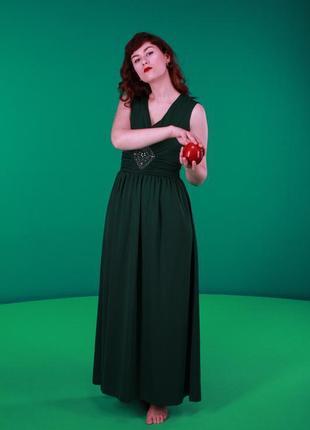 Зеленое изумрудное вечернее платье в пол, отлично подойдет для новогодних праздников