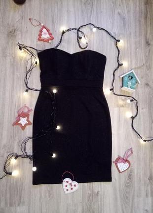&маленькое черное платье с мерцанием на новый год, без бретелей, р.38/м