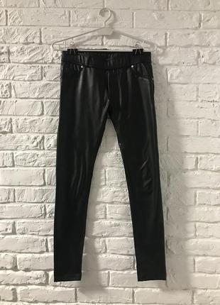 Лосины леггинсы брюки штаны кожаные эко кожа утепленные на байке