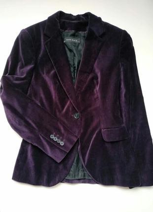 Фиолетовый велюровый пиджак zara, бархатный жакет