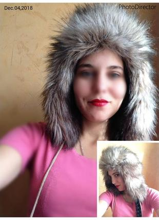 Теплющая шапка ушанка меховая  бренд gap