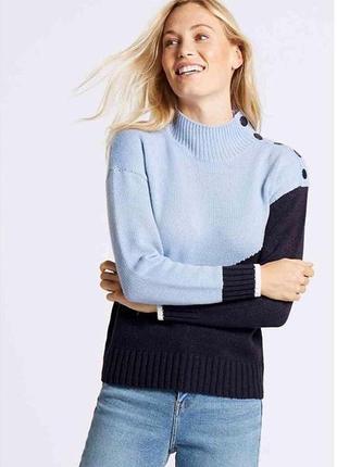 Модный теплый свитер под горло размер с m&s 16% шерсть