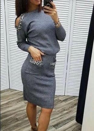 Костюм юбка миди в составе кашемир с-м-л качество люкс