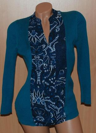 Оригинальная кофточка от next со вставками-имитацией блузы.