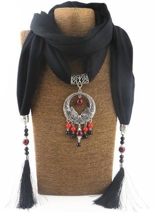 Шарф-платок женский runmeifa sw940 с подвесным ожерельем, черный