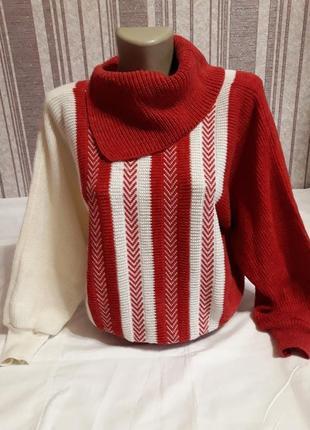 Теплый красивенный свитер летучая мышь, ручная работа! тотальная распродажа в профиле!