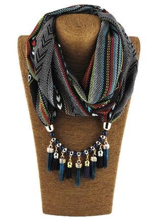 Шарф-платок женский runmeifa sw009 с подвесным ожерельем синий