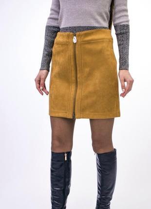 Актуальная юбка с замком спереди под замшу esmara c этикеткой ,сток.