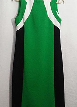 Calvin klein, платье миди черное зеленое трикотаж