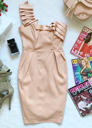 Полная ликвидация товара!пудровое платье футляр на одно плечо asos uk8/eur36