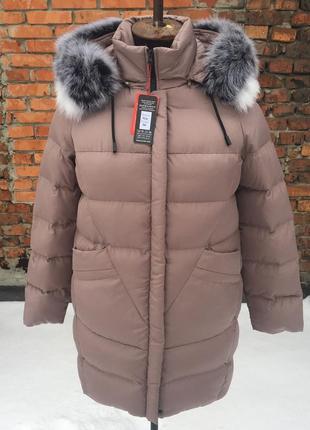 Стильный теплый зимний пуховик куртка с мехом песец цвет мокко темный беж 48 l и другие