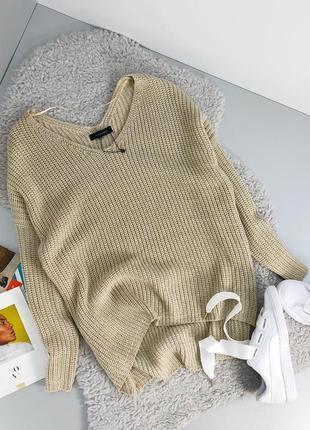 Бежевый стильный свитер! теплый свитер!