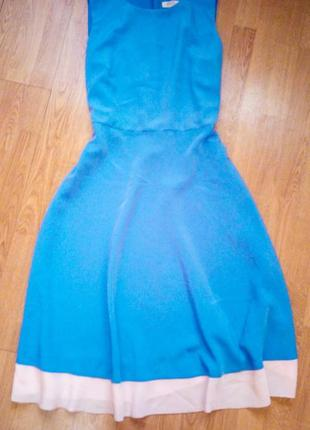 Платье миди голубое с бежевым свободное легкое базовое классическое