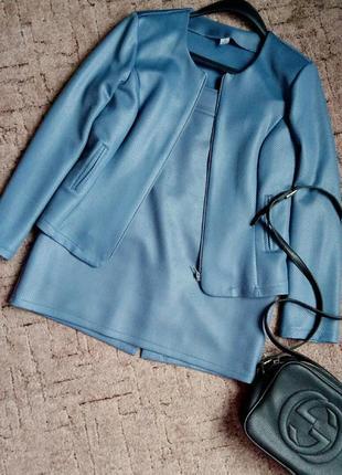 Серый костюм / пиджак и юбка / костюм змеиный принт