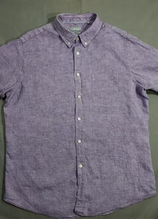 Брендовая льняная мужская тенниска рубашка moddison
