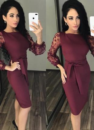 Новое шикарное платье цвета марсала