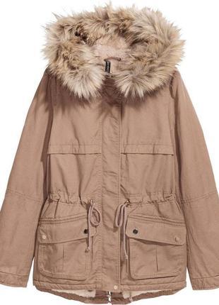 Новая утепленая парка куртка от h&m на искуственной овчине