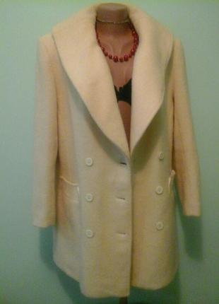 Натуральное шерстяное пальто alexon, молочный цвет