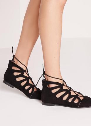 Туфли лодочки со шнуровкой, сандалии из эко замши, новые!