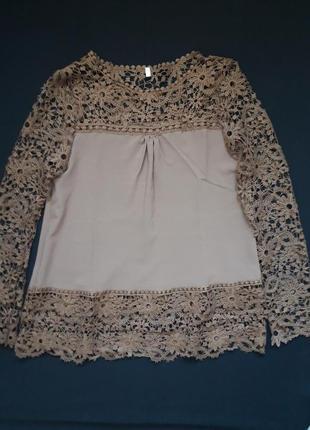 Шикарная кружевная блуза кофточка