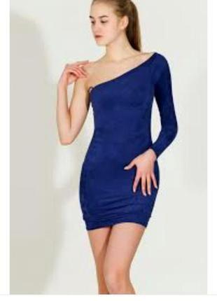 Скидка дёшево синее замшевое платье на одно плечо новый год корпоратив праздник размер м