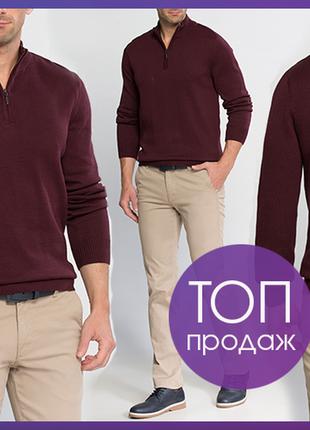 Бордовый мужской свитер lc waikiki / лс вайкики с воротником-стойка
