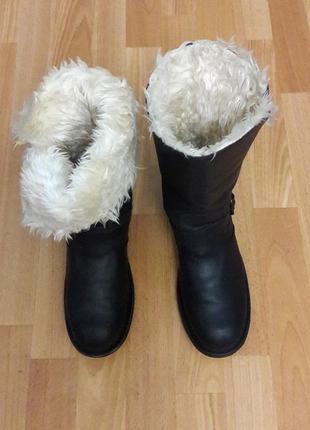 Крутые зимние кожаные сапоги ботинки на меху в отличном состоянии оригинал 27см