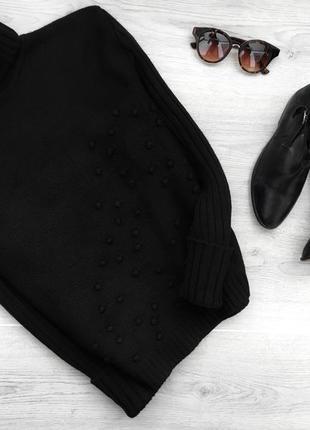 Красивый теплый свитер/водолазка с шерсти в горошек обемный olsen