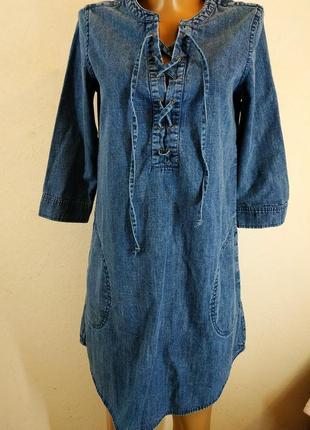 Брендовое джинсовое платье с длинным рукавом