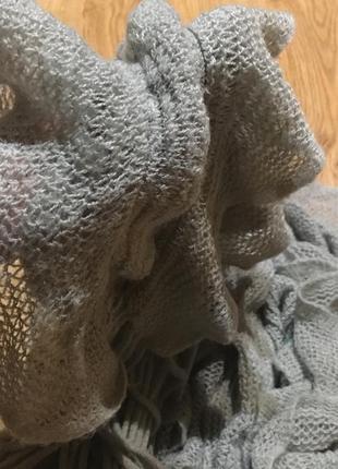 Щарф серый тёплый с рюшами воланами
