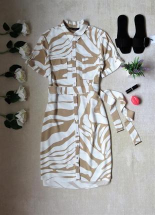Платье рубашка в принт с поясом